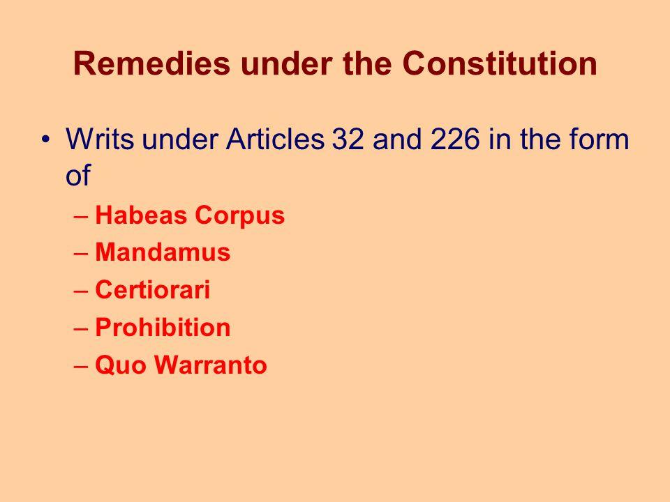 Remedies under the Constitution