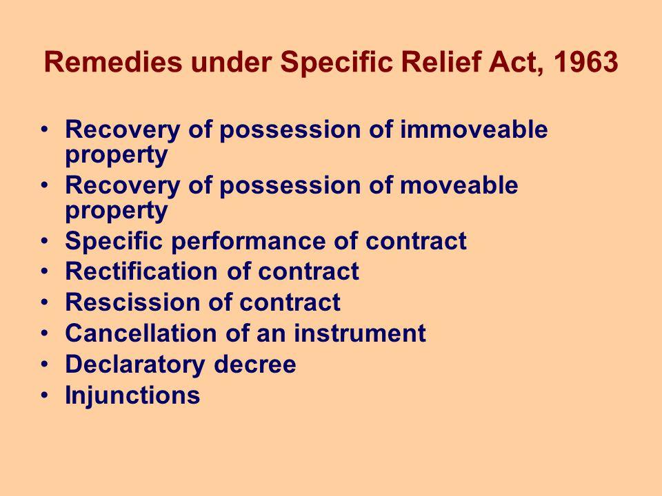 Remedies under Specific Relief Act, 1963