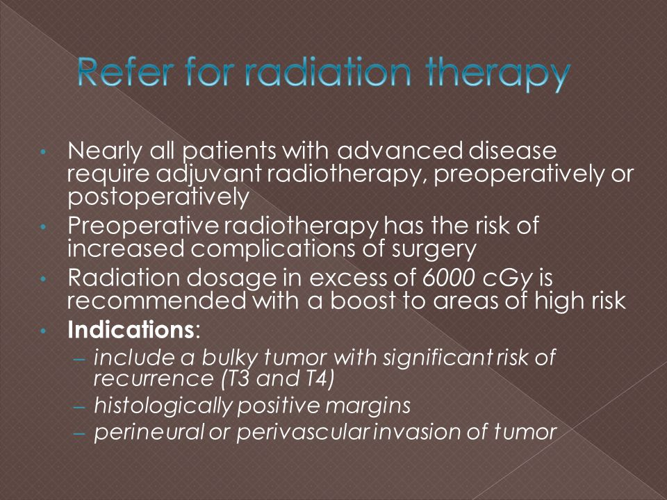 Refer for radiation therapy