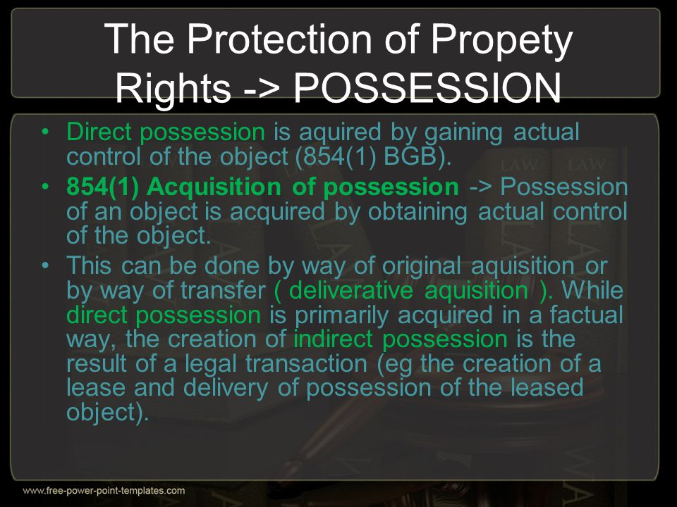 The Protection of Propety Rights -> POSSESSION