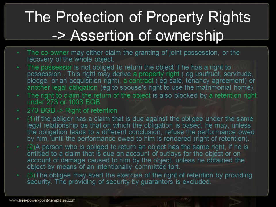 The Protection of Property Rights -> Assertion of ownership