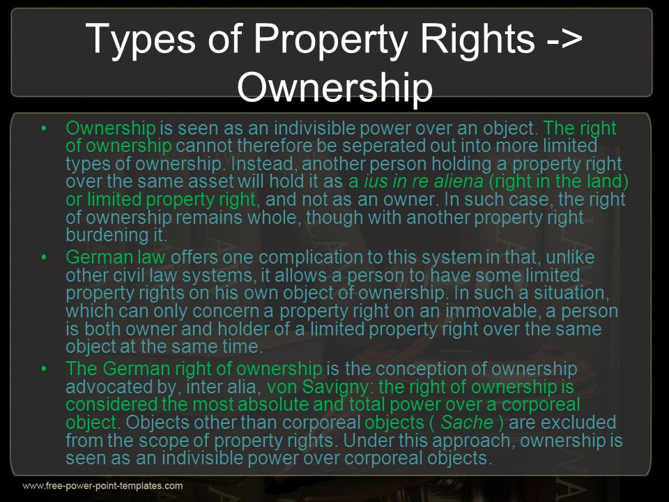 Types of Property Rights -> Ownership