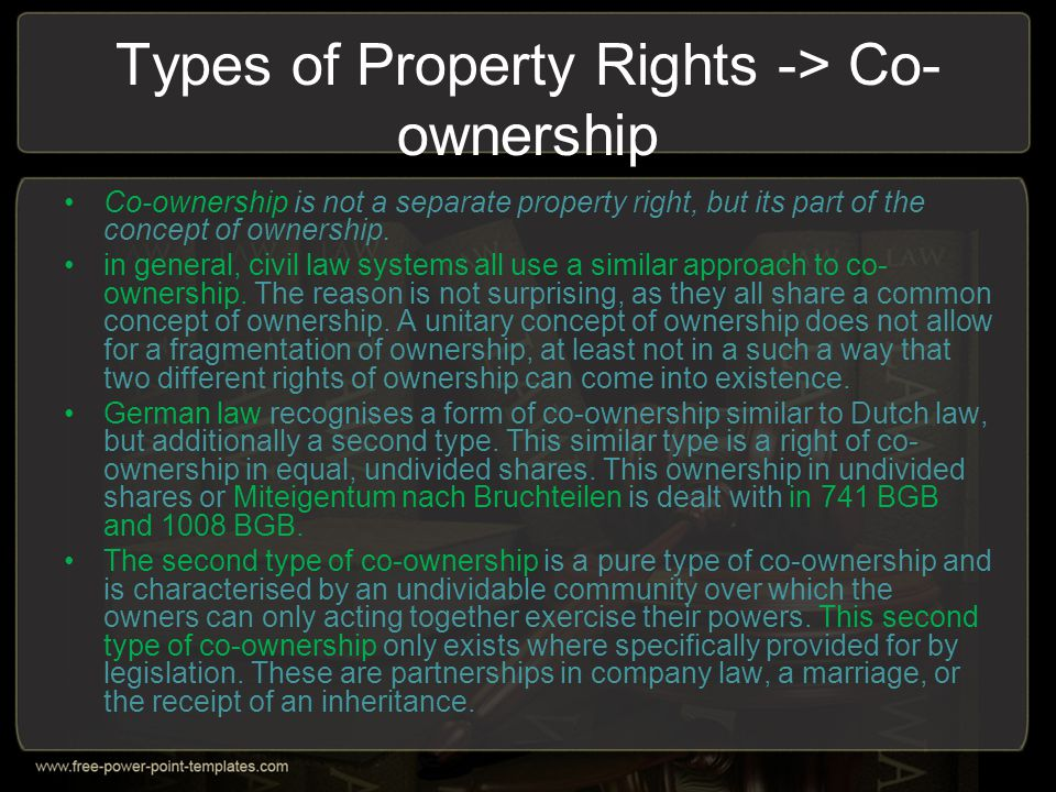Types of Property Rights -> Co-ownership