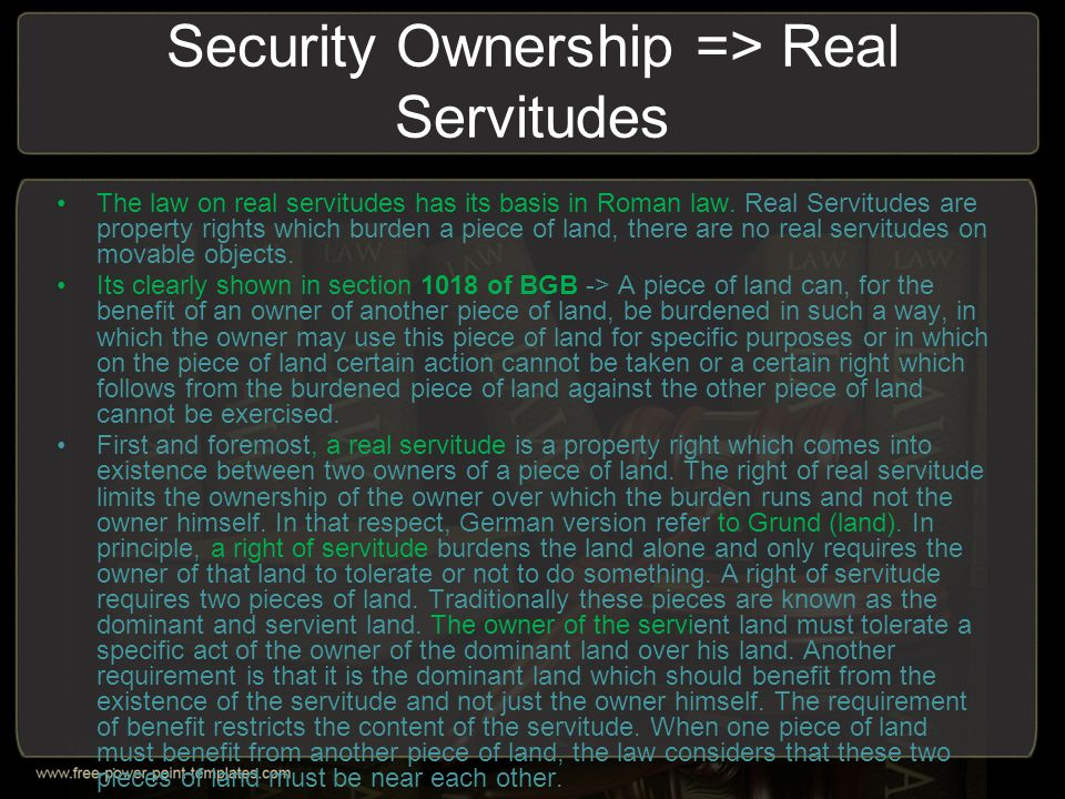 Security Ownership => Real Servitudes