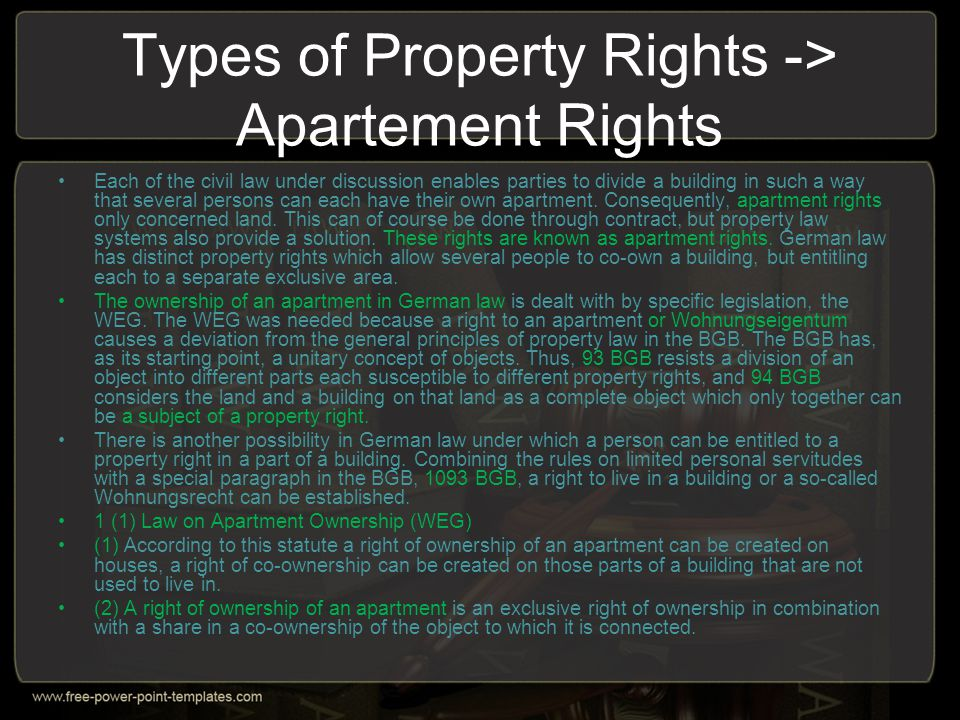 Types of Property Rights -> Apartement Rights