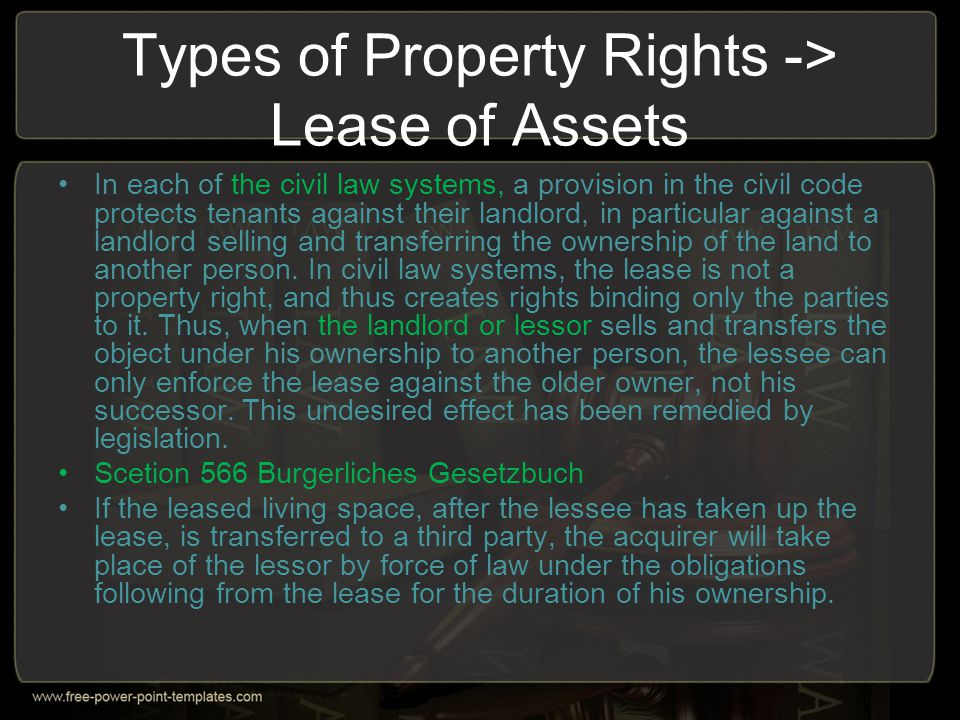 Types of Property Rights -> Lease of Assets