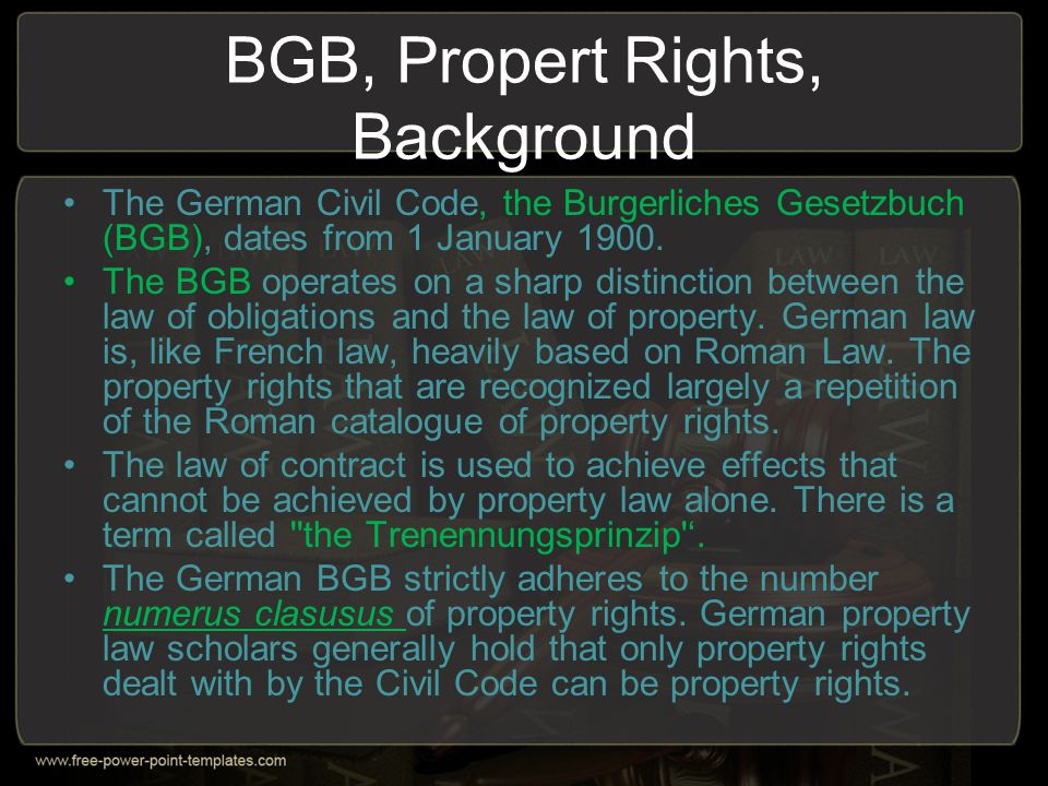 BGB, Propert Rights, Background