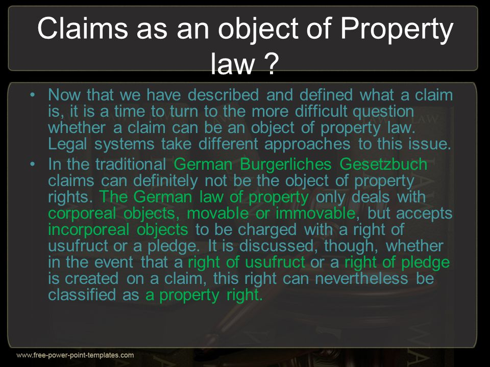 Claims as an object of Property law