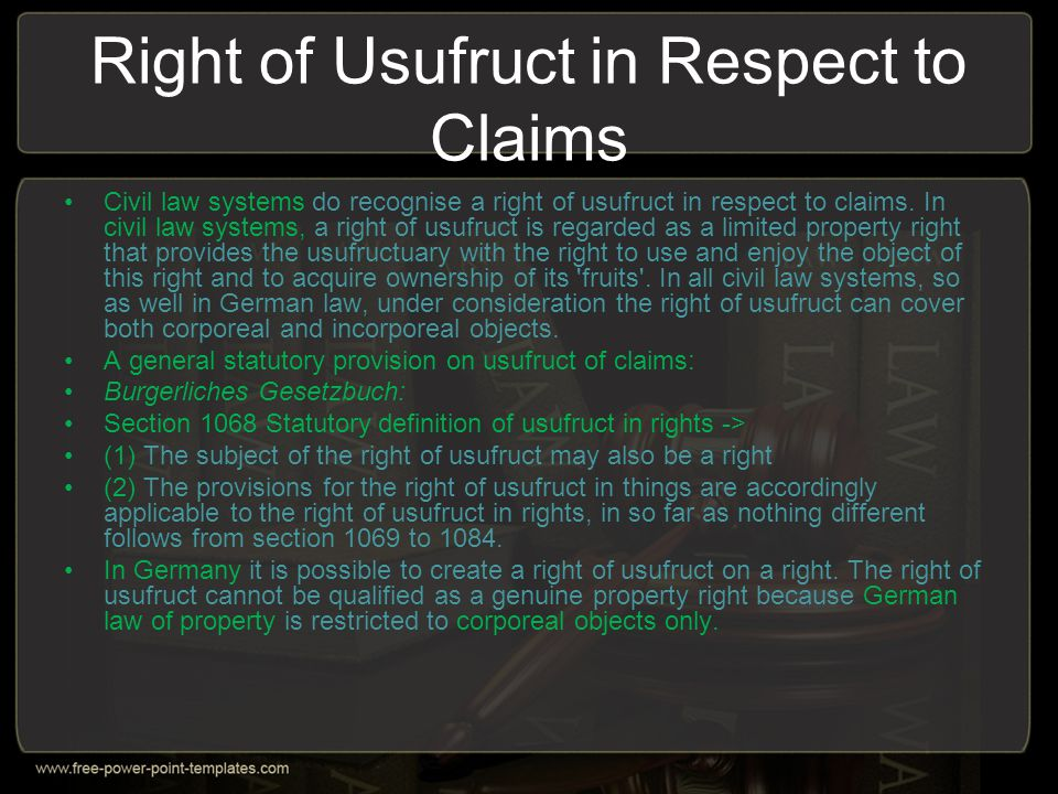 Right of Usufruct in Respect to Claims
