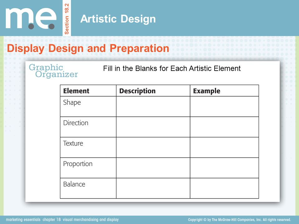 Fill in the Blanks for Each Artistic Element