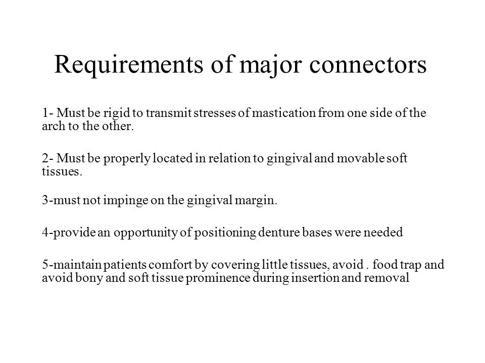 Requirements of major connectors