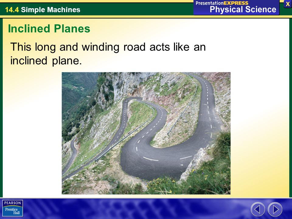 Inclined Planes This long and winding road acts like an inclined plane.