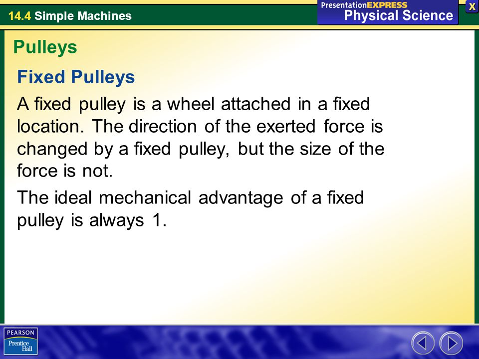 Pulleys Fixed Pulleys.