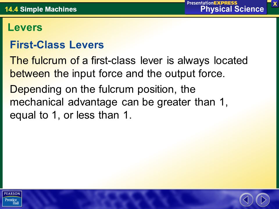 Levers First-Class Levers. The fulcrum of a first-class lever is always located between the input force and the output force.