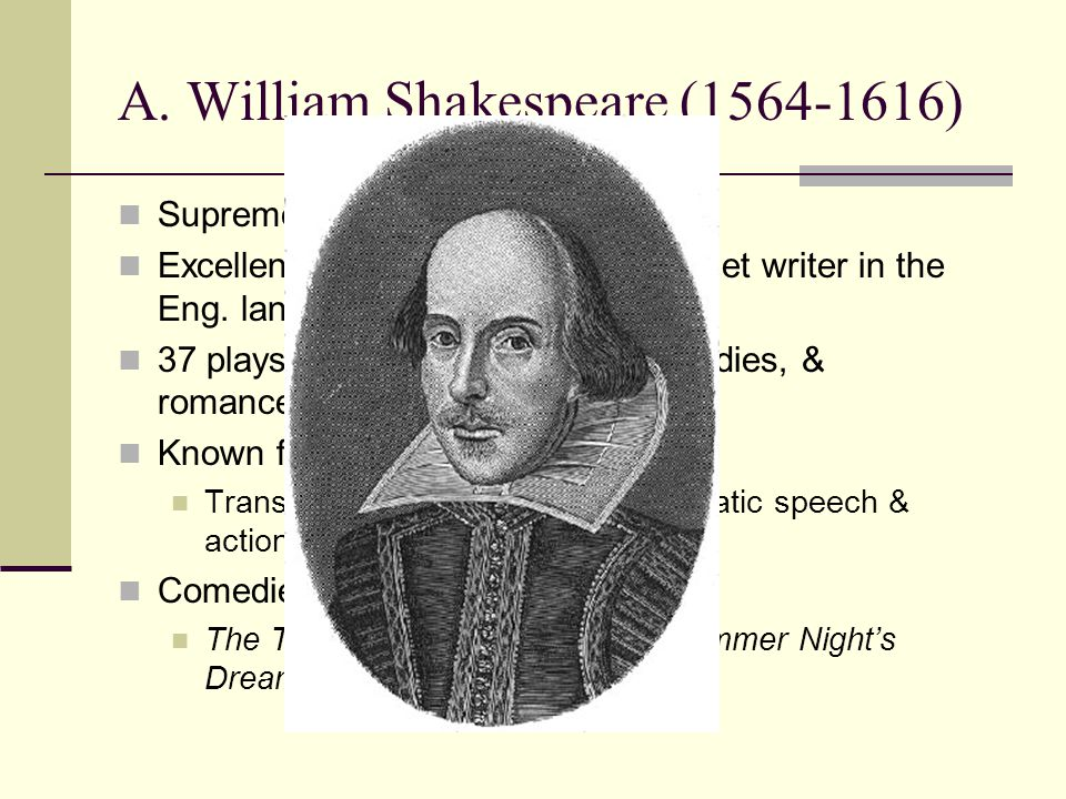 A. William Shakespeare (1564-1616)