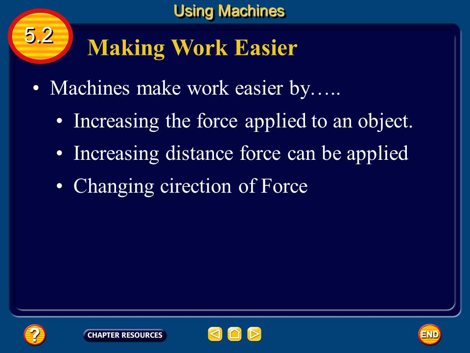 Making Work Easier 5.2 Machines make work easier by…..