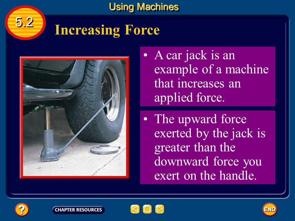 Using Machines 5.2. Increasing Force. A car jack is an example of a machine that increases an applied force.