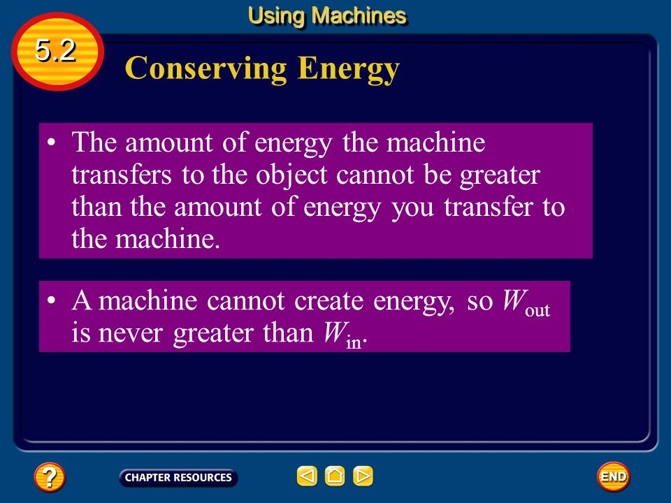 Using Machines 5.2. Conserving Energy.