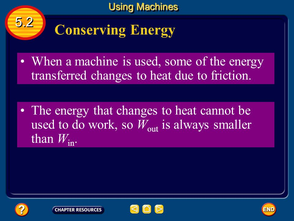 Using Machines 5.2. Conserving Energy. When a machine is used, some of the energy transferred changes to heat due to friction.