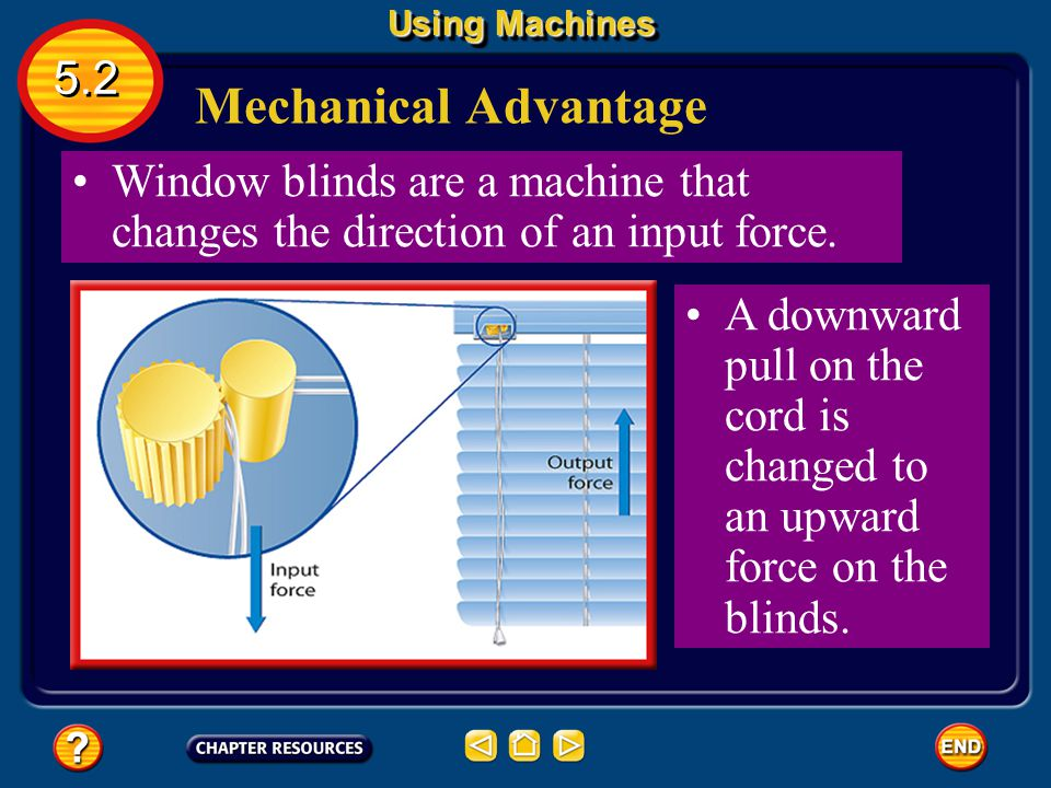 Using Machines 5.2. Mechanical Advantage. Window blinds are a machine that changes the direction of an input force.