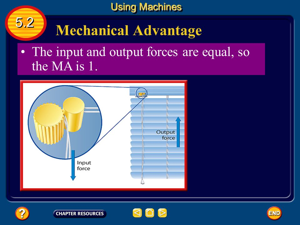 Using Machines 5.2 Mechanical Advantage The input and output forces are equal, so the MA is 1.