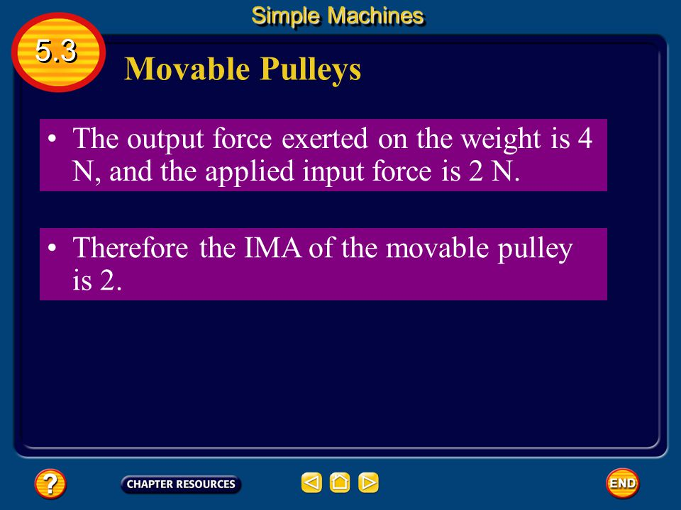 Simple Machines 5.3. Movable Pulleys. The output force exerted on the weight is 4 N, and the applied input force is 2 N.
