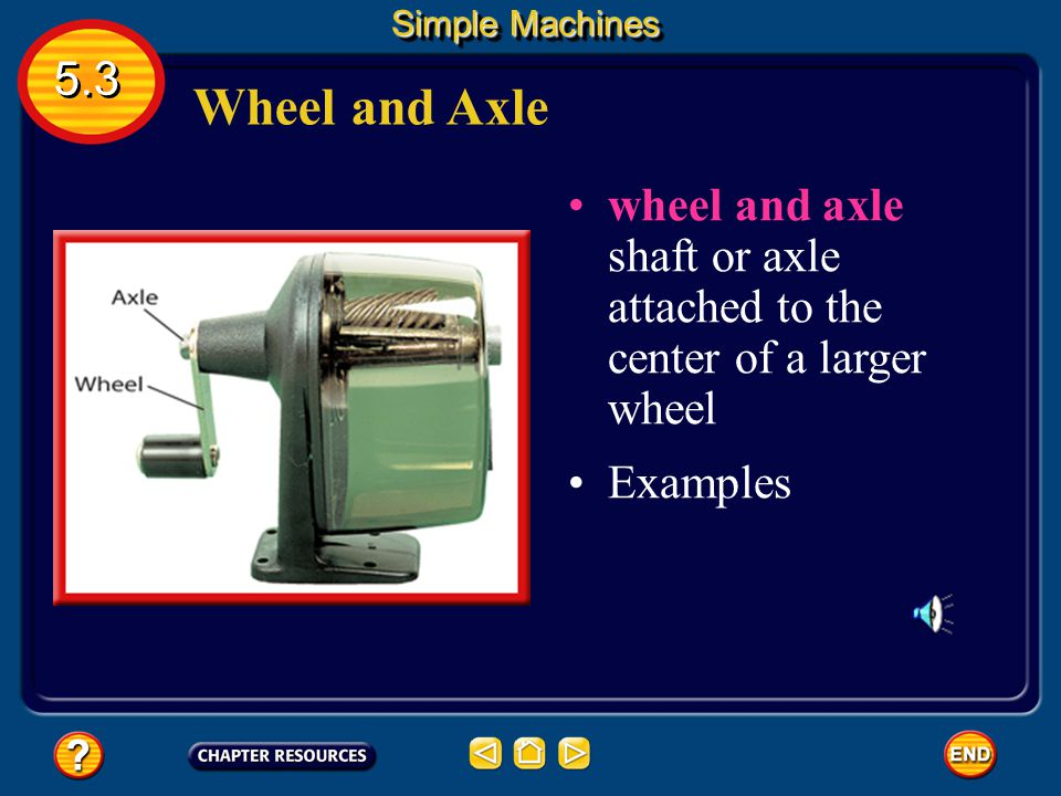 Simple Machines 5.3. Wheel and Axle. wheel and axle shaft or axle attached to the center of a larger wheel.