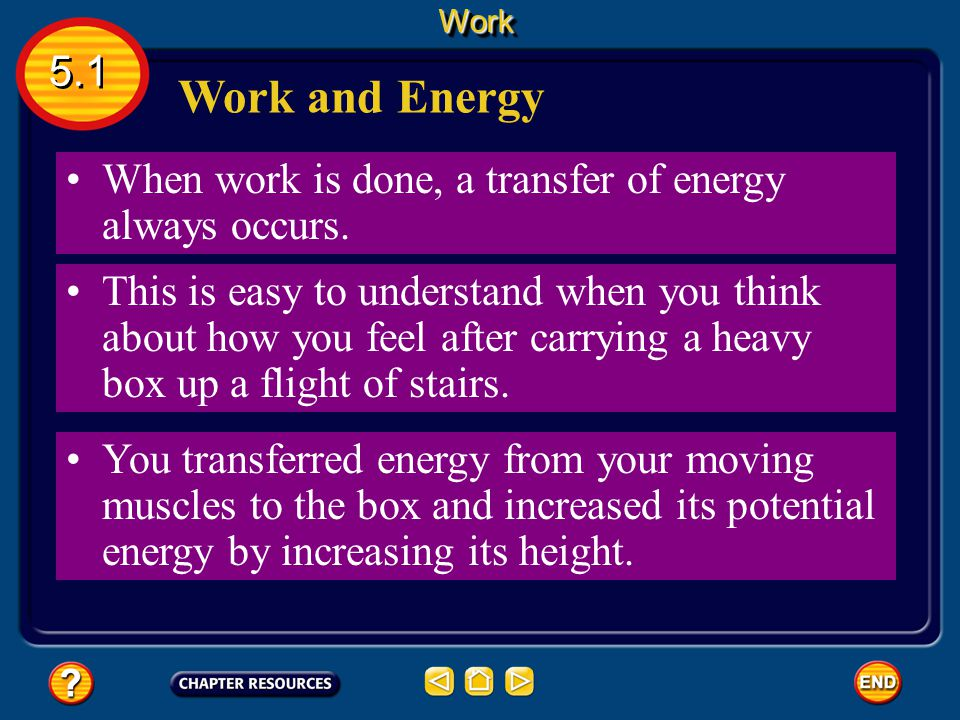 Work 5.1. Work and Energy. When work is done, a transfer of energy always occurs.