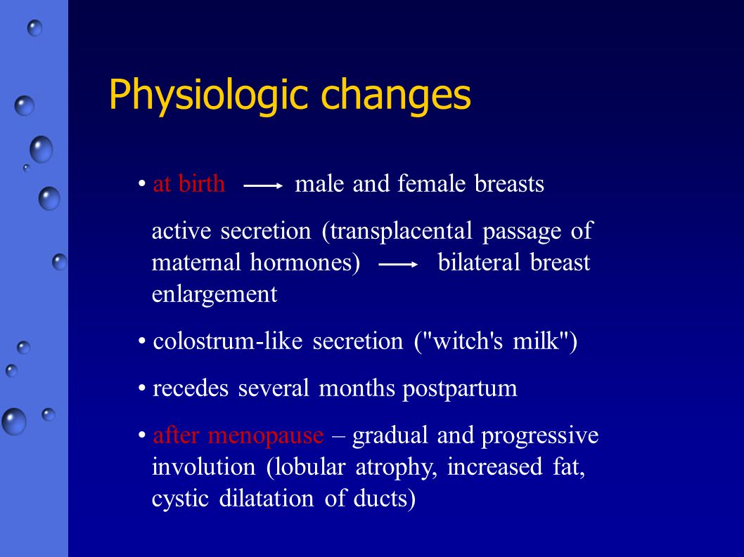 Physiologic changes at birth male and female breasts
