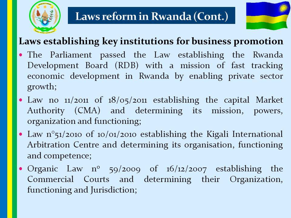 Laws reform in Rwanda (Cont.)