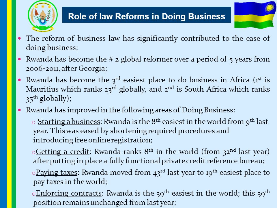 Role of law Reforms in Doing Business