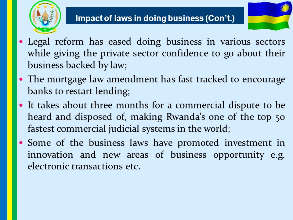 Impact of laws in doing business (Con't.)
