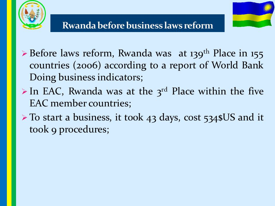 Rwanda before business laws reform