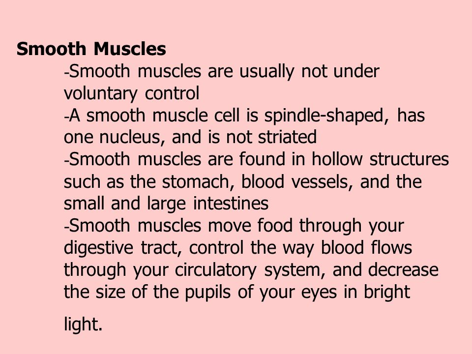 Smooth Muscles. -Smooth muscles are usually not under