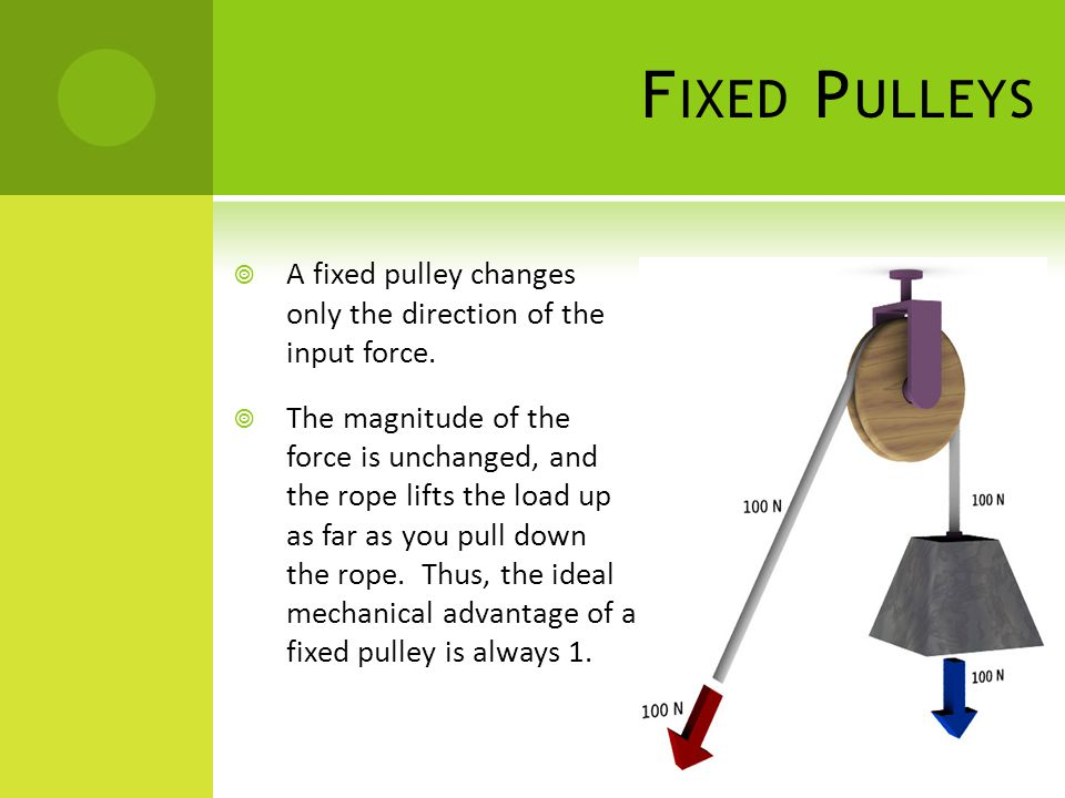 Fixed Pulleys A fixed pulley changes only the direction of the input force.