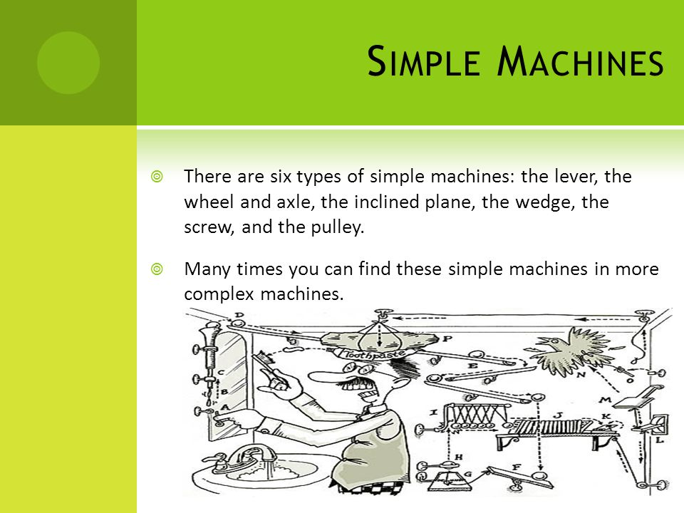 Simple Machines There are six types of simple machines: the lever, the wheel and axle, the inclined plane, the wedge, the screw, and the pulley.