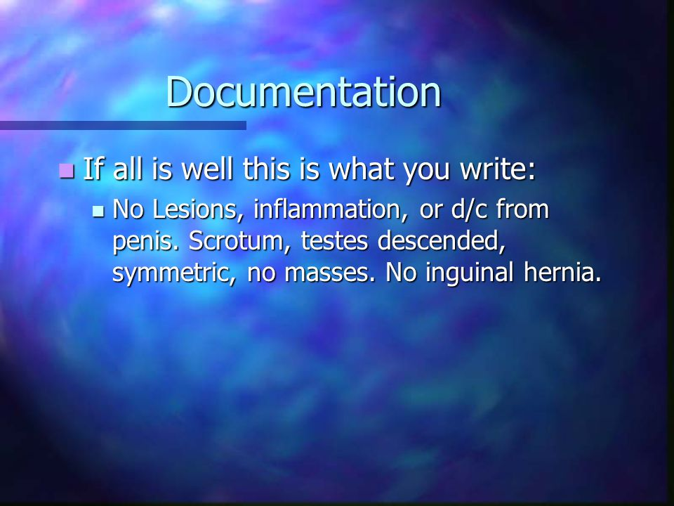 Documentation If all is well this is what you write: