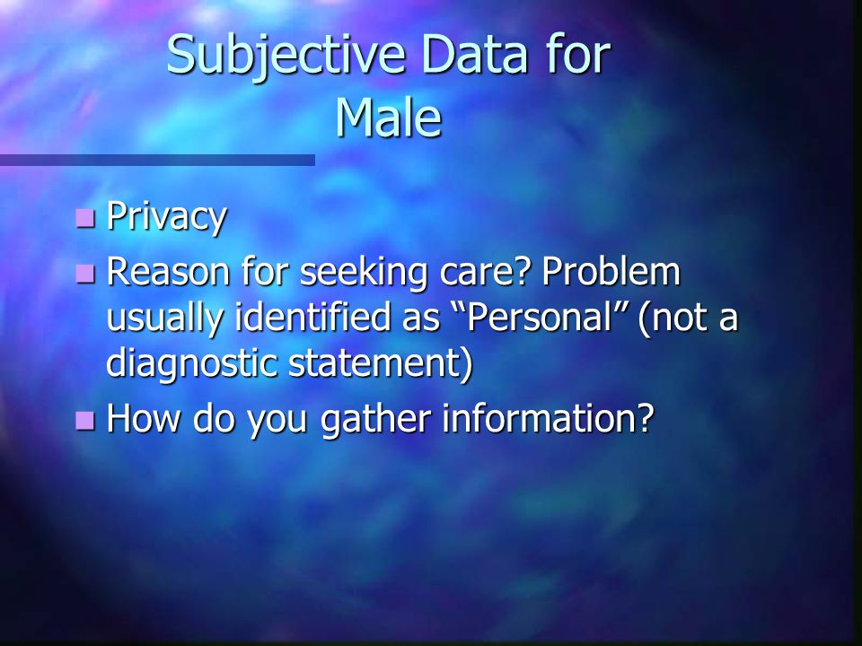 Subjective Data for Male