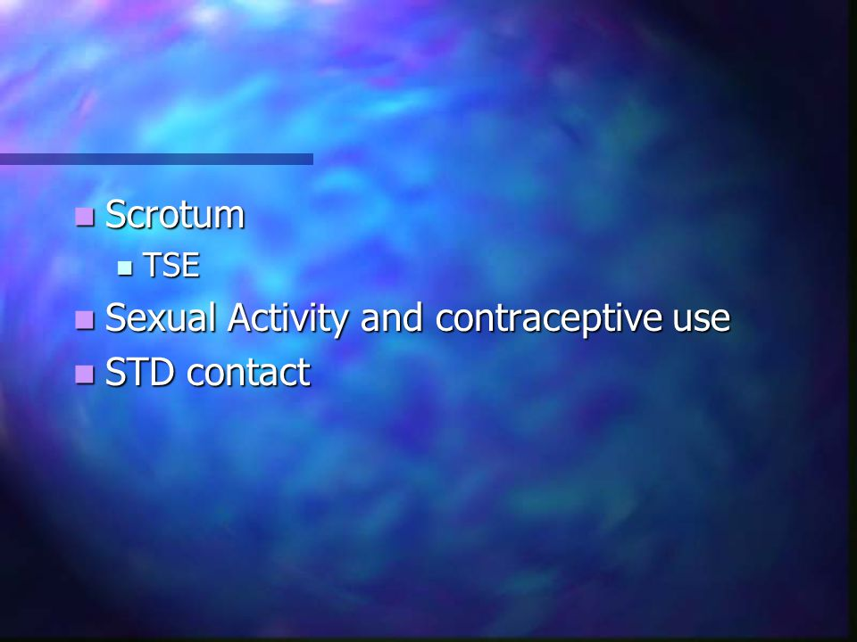 Sexual Activity and contraceptive use STD contact