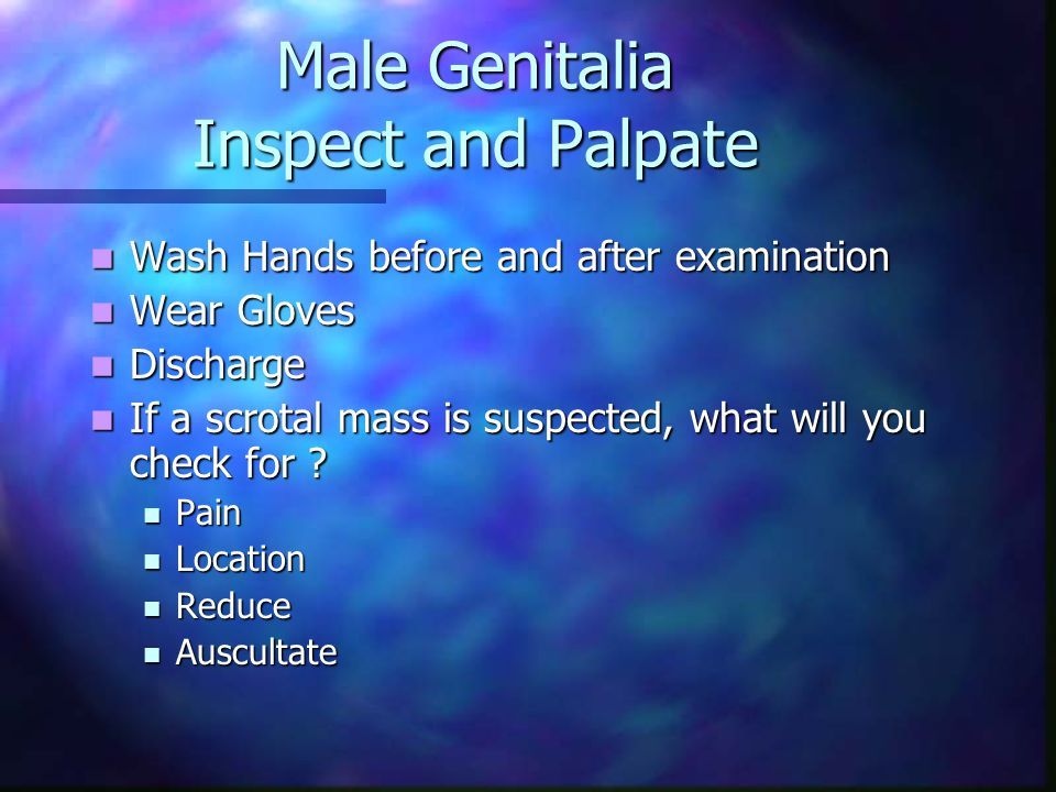 Male Genitalia Inspect and Palpate