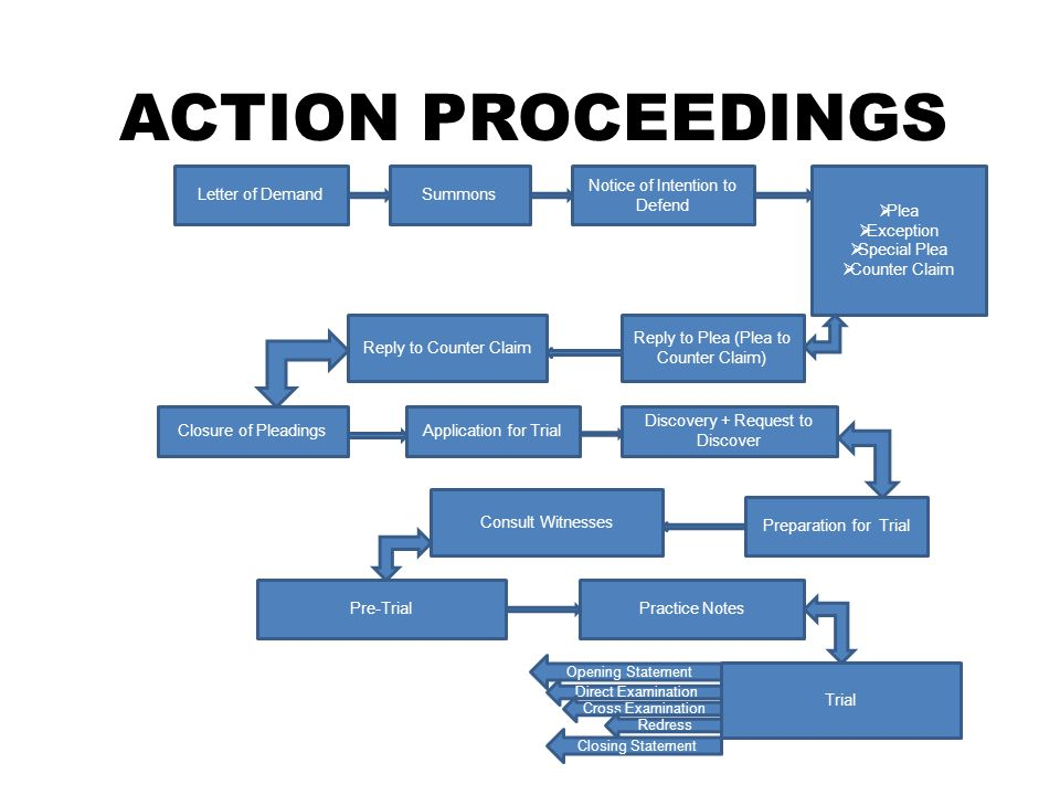 ACTION PROCEEDINGS Letter of Demand Summons