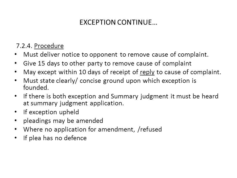 EXCEPTION CONTINUE… 7.2.4. Procedure