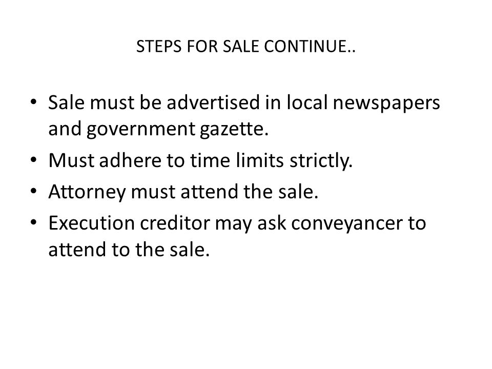 STEPS FOR SALE CONTINUE..