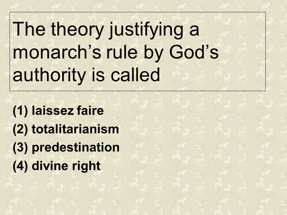 The theory justifying a monarch's rule by God's authority is called