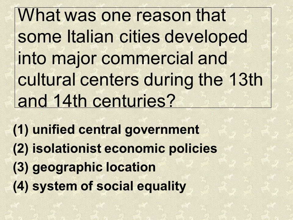 What was one reason that some Italian cities developed into major commercial and cultural centers during the 13th and 14th centuries
