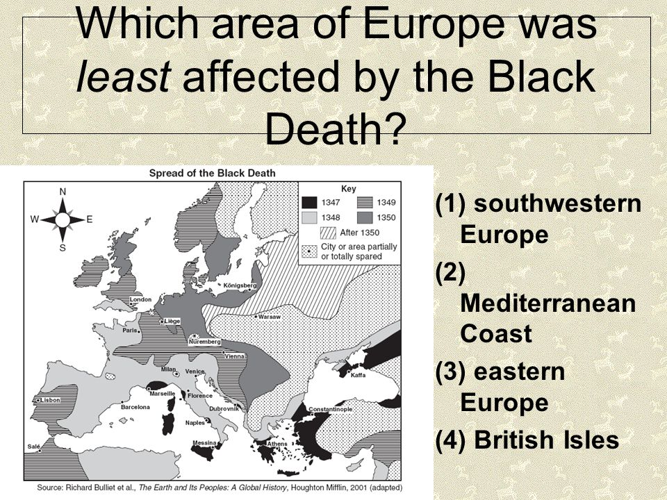 Which area of Europe was least affected by the Black Death