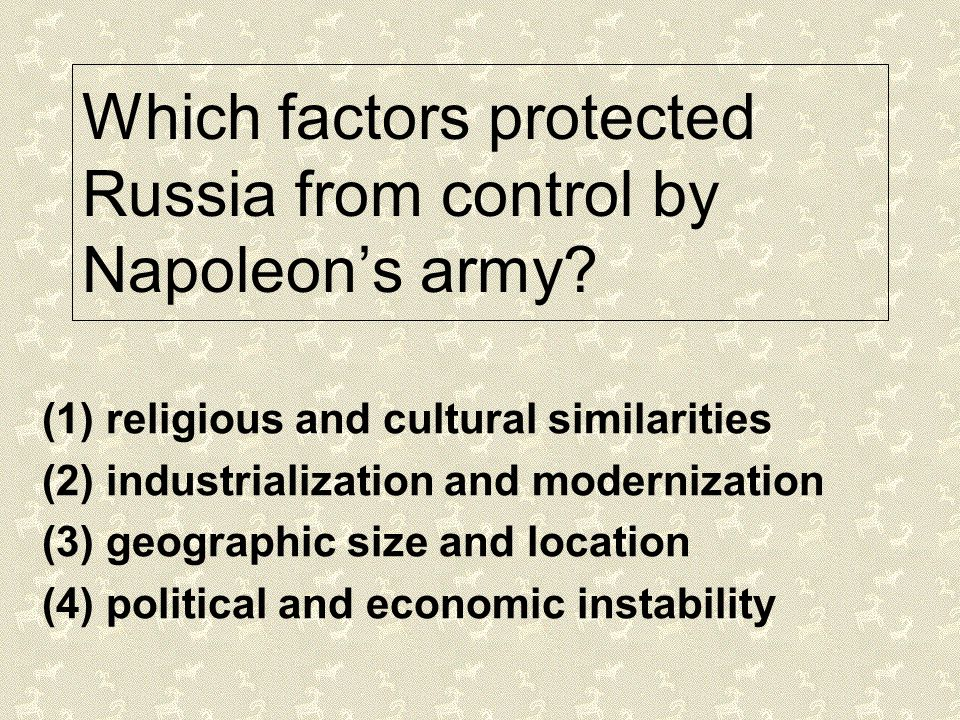 Which factors protected Russia from control by Napoleon's army
