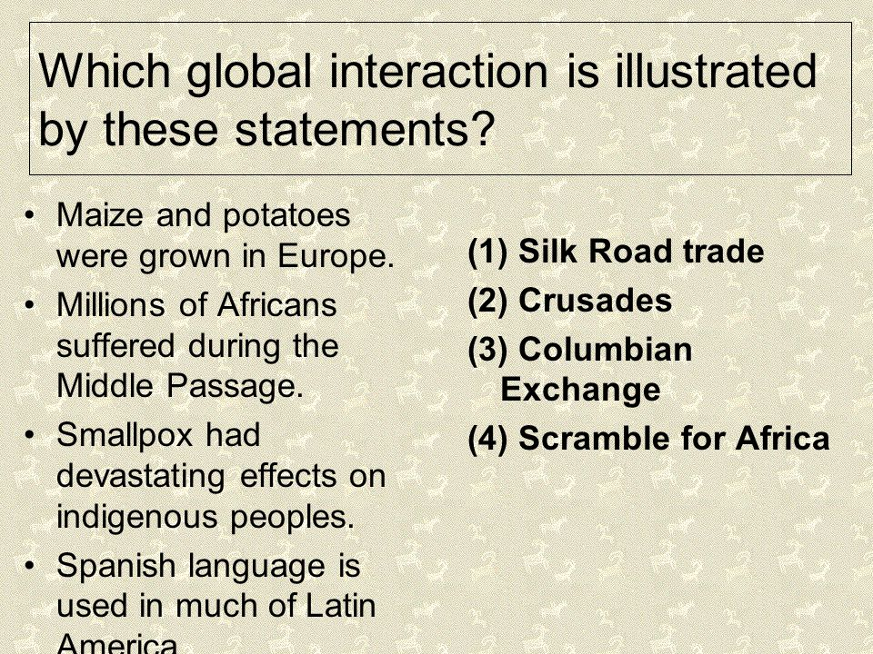 Which global interaction is illustrated by these statements