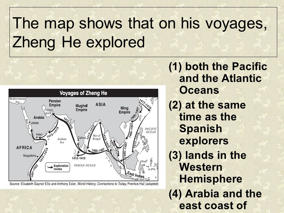 The map shows that on his voyages, Zheng He explored
