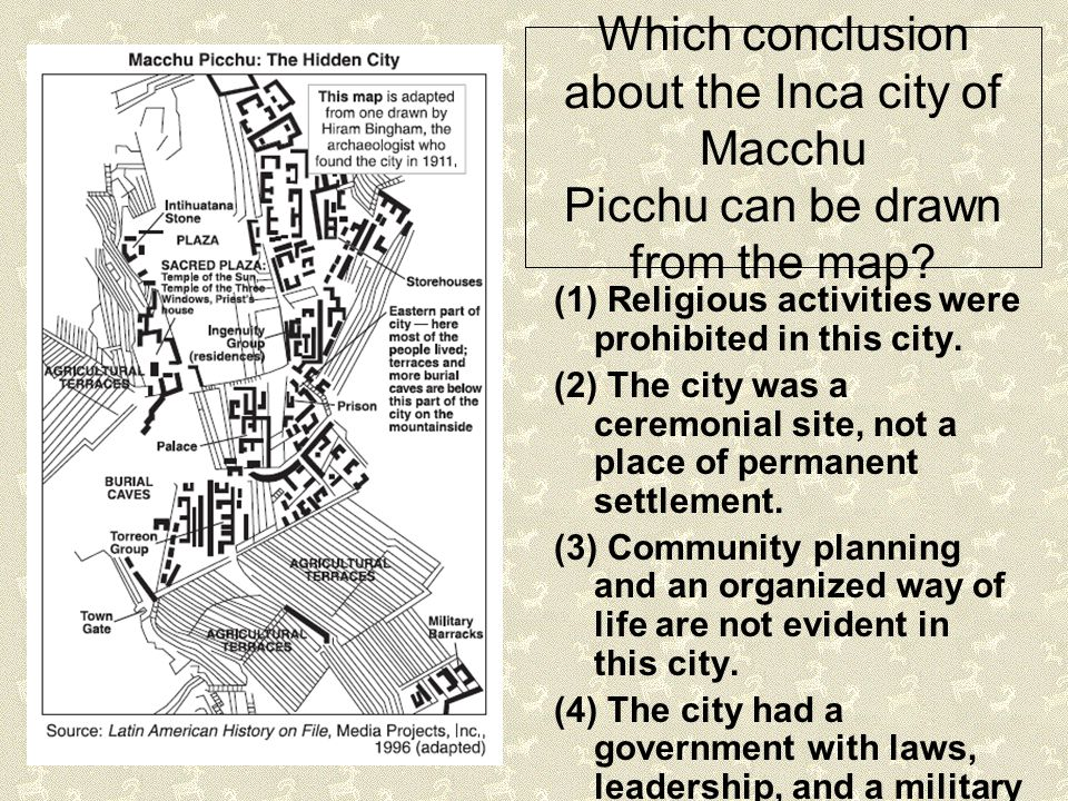 Which conclusion about the Inca city of Macchu Picchu can be drawn from the map